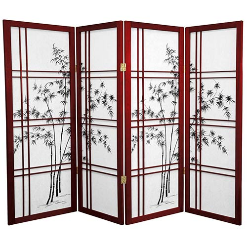"48"" Bamboo Sunrise (Rosewood Finish) :: 48"" Short Shoji Screens"