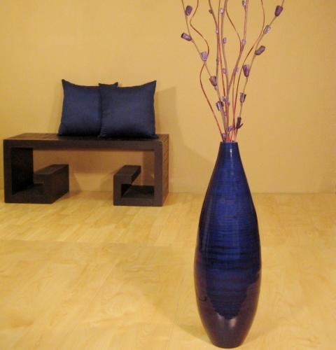 "24"" Teardrop Floor Vase - Dark Sapphire :: Decorative Vases"
