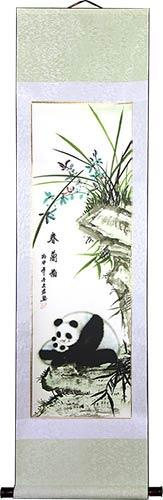 "56"" Chinese Panda Scroll :: Chinese Scroll Paintings"