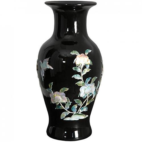 Porcelain Vases Black Fishtail Vase