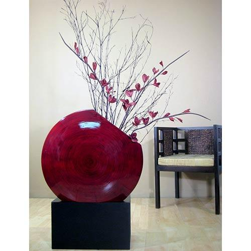 "24"" Giant Angled Circle Vase - Mahogany Red :: Decorative Vases"