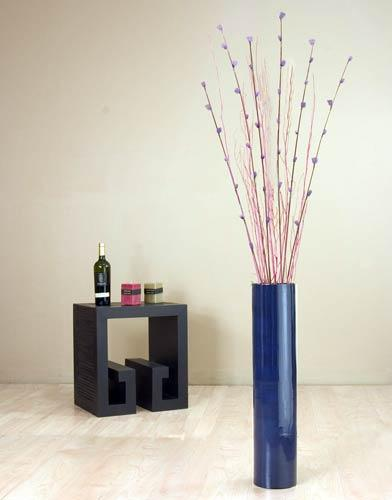 decorative vases 25 blue bamboo cylinder floor vase - Decorative Floor Vases