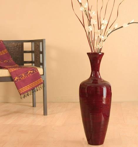 Decorative Vases 27 Quot Slender Mahogany Red Bamboo Floor Vase