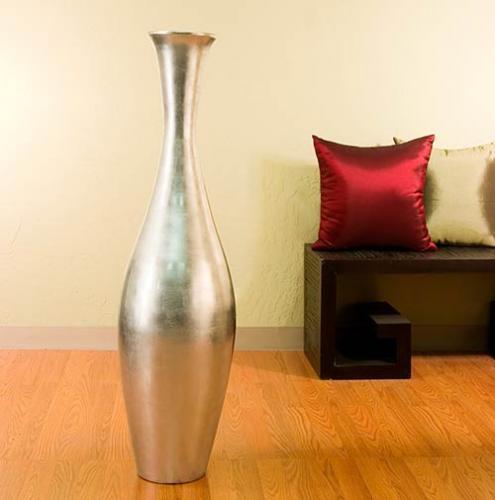 """Large Floor Vases :: 44"""" Silver Egret Large Floor Vase"""