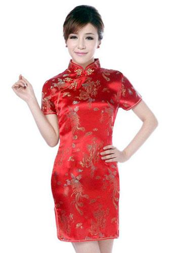 Red Dragon and Phoenix Knee-Length Qipao :: Qipao Dresses