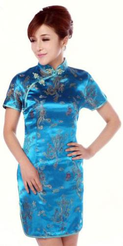 Turquoise Dragon and Phoenix Knee-Length Qipao :: Qipao Dresses