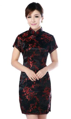 Black and Red Cherry Blossom Knee-Length Qipao :: Qipao Dresses