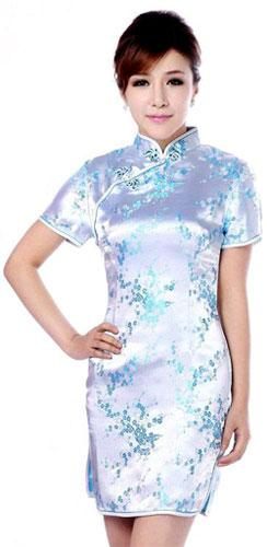 Cloud Blue Sakura Qipao :: Qipao Dresses