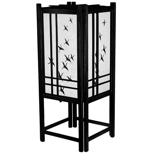 Cranes in Flight Lamp (Black Finish) :: Chinese Lamps
