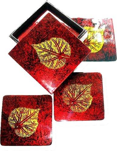 Gold Leaf on Red Coaster Set :: Asian Cups and Bowls