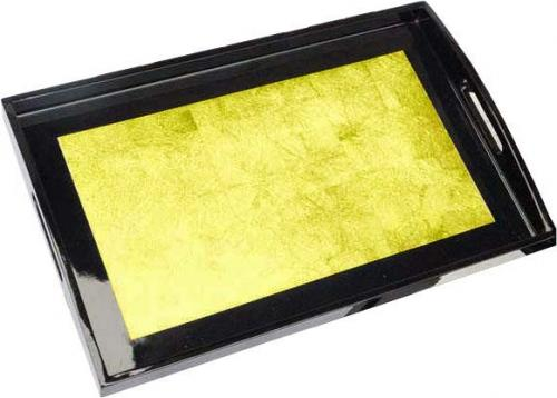 Rectangular Gold Lacquered Tray :: Oriental Serving Trays