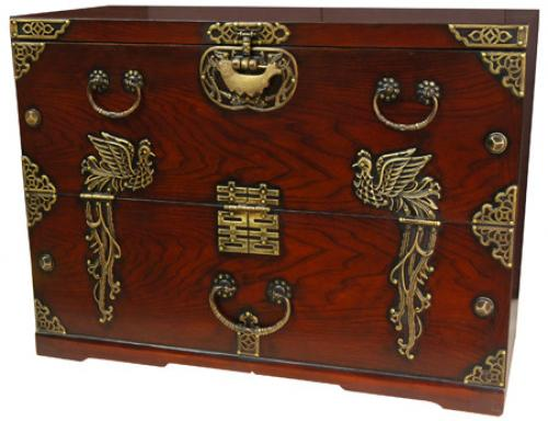 Phoenix Rising Blanket Chest :: Oriental Boxes and Trunks
