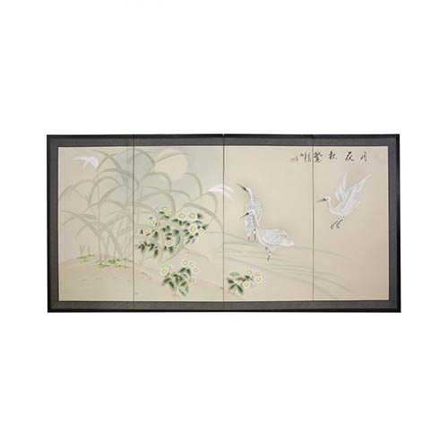 Cranes in Full Moon :: Japanese Silk Paintings