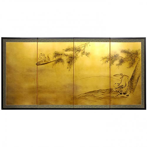 Chinese Silk Paintings Gold Leaf Fishing For Life