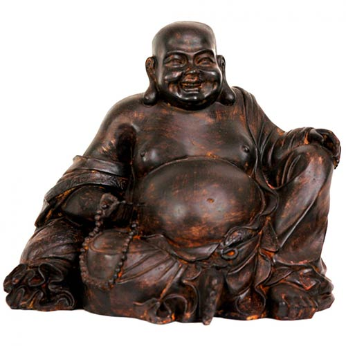 """Antique Table Decor Buddha Statue Collectable Religious: Buddhist Statues :: 8"""" Sitting Laughing Buddha Statue"""