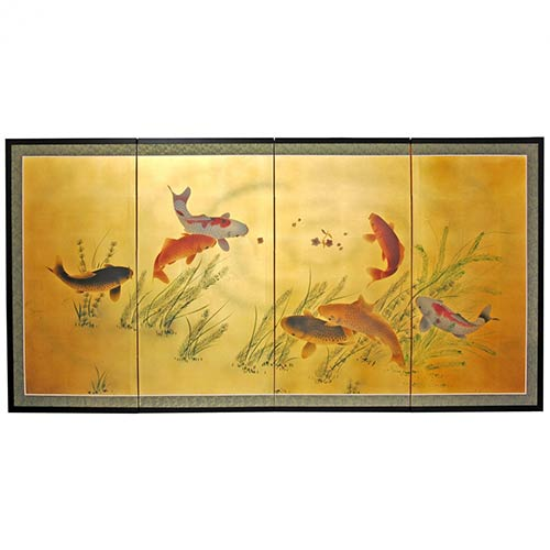 Lucky Seven Koi Fish :: Chinese Silk Paintings