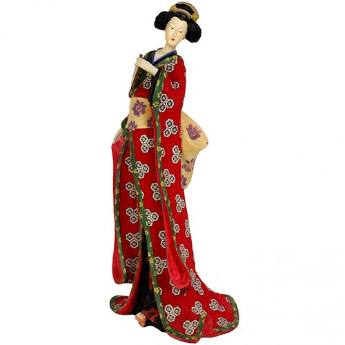 "18"" Geisha Figurine in Red Robe :: Japanese Geisha Dolls"