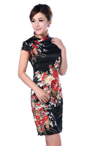 Black Silk Floral Knee-Length Qipao (Sleeveless) :: Qipao Dresses