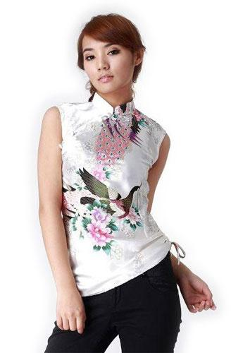 White Peacock Chinese Blouse :: Chinese Blouses