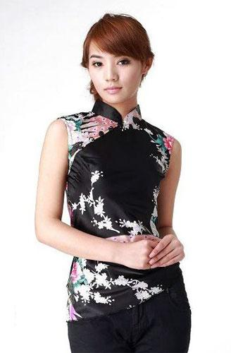 Black Peacock Chinese Blouse :: Chinese Blouses