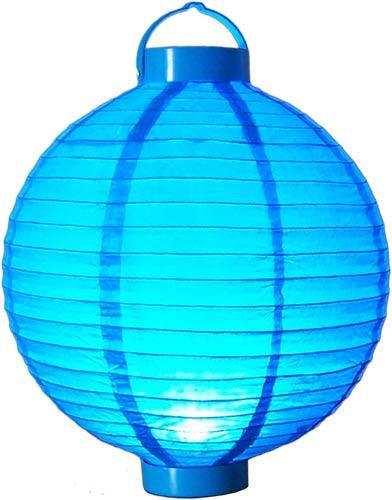 "12"" Glowing Blue Lantern :: Glowing Asian Lanterns"