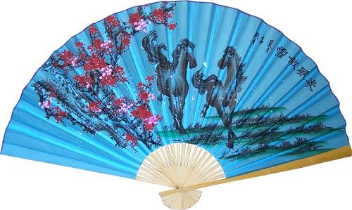 Stallions and Blossoms on Blue :: Asian Wall Fans