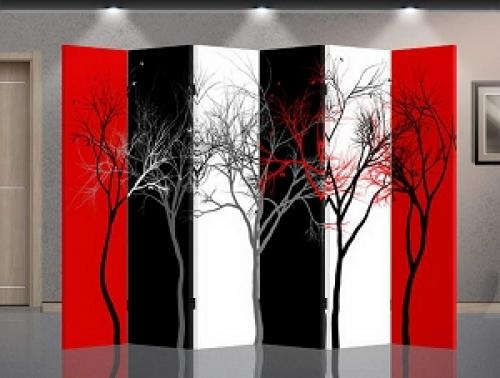 Double Sided Abstract Trees Divider :: Folding Room Dividers