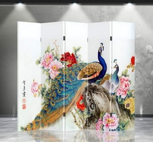 Double Sided Double Peacocks Divider :: Folding Room Dividers