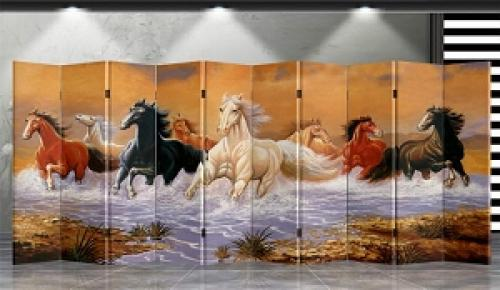 Double Sided Running Horses Divider Folding Room Dividers