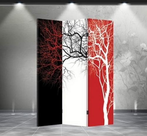 Double Sided Tri Color Tree Divider Folding Room Dividers