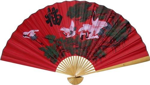 Three Cranes in the Lucky Color :: Asian Wall Fans