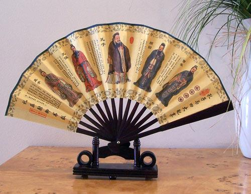 Chinese Fan Stand : Small display fans five learned men table fan