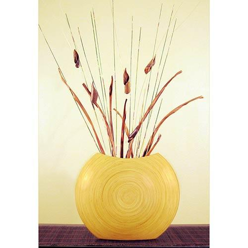 "14"" Natural Top-Opening Circle Vase :: Wooden Table Vases"