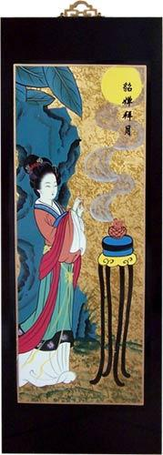 "23.5"" China Girl with Incense :: Wall Carvings"