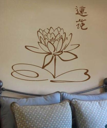Asian Art Wall Stickers  Chinese Lotus Flower Wall Decal - Vinyl wall decals asian