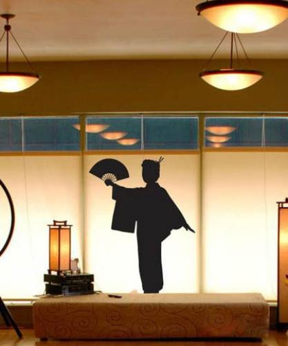 Geisha with Fan Wall Decal :: Asian Art Wall Stickers