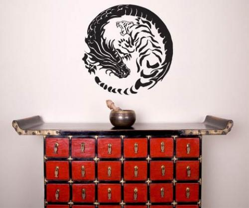 Asian Art Wall Stickers :: Tiger Dragon Yin Yang Wall Decal