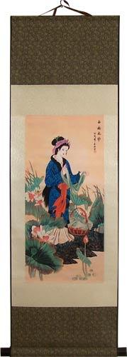 Lady in Blue :: Chinese Print Scrolls