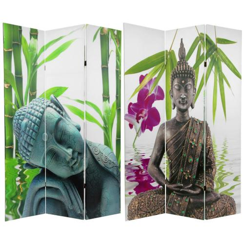 6 ft. Tall Double Sided Serenity Buddha Room Divider  :: Folding Room Dividers