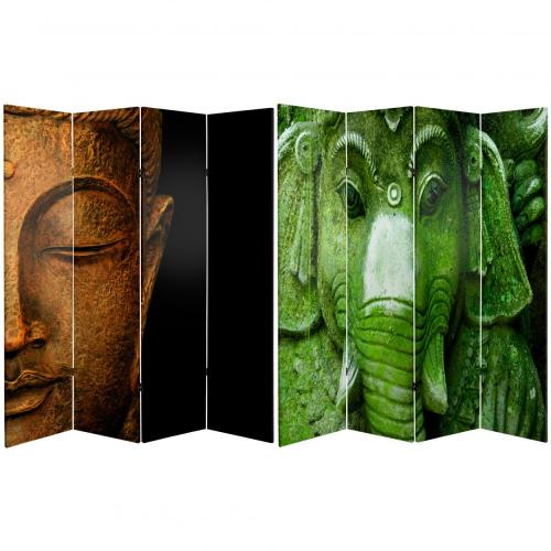 6 ft. Tall Double Sided Buddha and Ganesh Canvas Room Divider  :: Folding Room Dividers