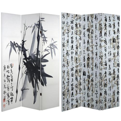 6 ft. Tall Double Sided Bamboo Calligraphy Canvas Room Divider  :: Folding Room Dividers