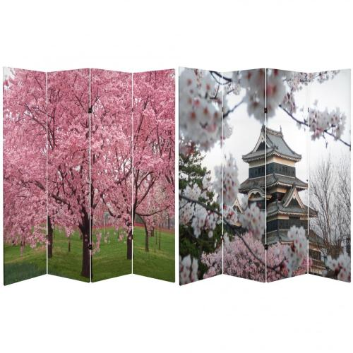 6 ft. Tall Double Sided Cherry Blossoms Room Divider  :: Folding Room Dividers