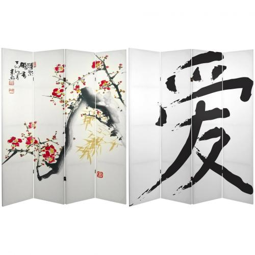 6 ft. Tall Double Sided Cherry Blossoms and Love Canvas Room Divider 4-Panel  :: Folding Room Dividers
