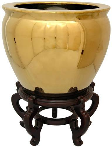 Solid Gold Leaf Porcelain Fish Bowl :: Chinese Fish Bowls