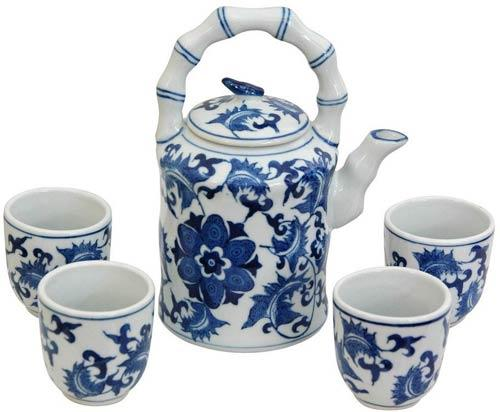 Floral Blue and White Porcelain Tea Set :: Chinese Tea Sets