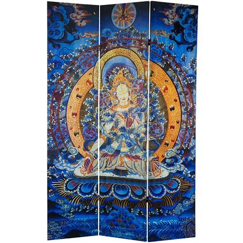 6 ft. Tall Radiant Tara Tibetan Double Sided Canvas Room Divider  :: Double Sided Shoji Screens