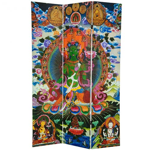 6 ft. Tall Green Tara Tibetan Double Sided Canvas Room Divider :: Double Sided Shoji Screens