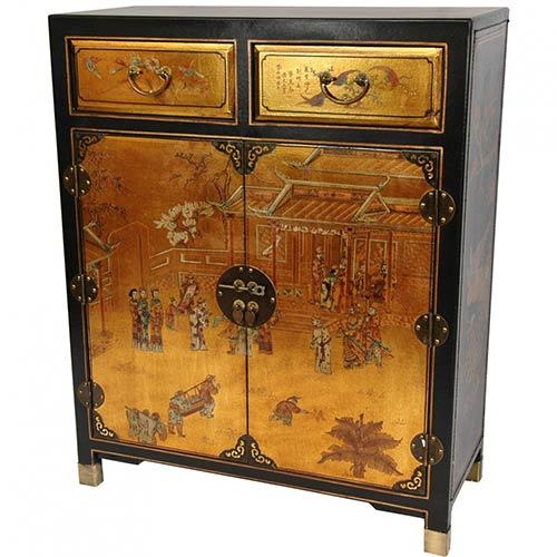 Gold Lacquer Two Drawer Cabinet :: Asian Style Furniture