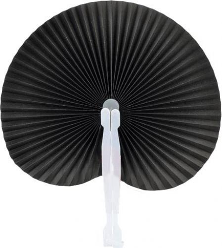 Black Round Folding Hand Fan 10-pack :: Paddle Fans