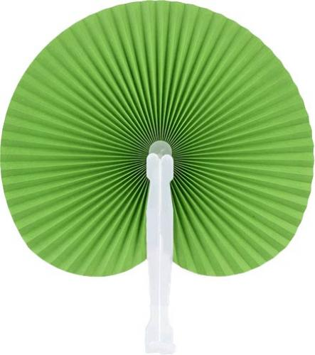 Green Round Folding Hand Fan 10-pack :: Paddle Fans